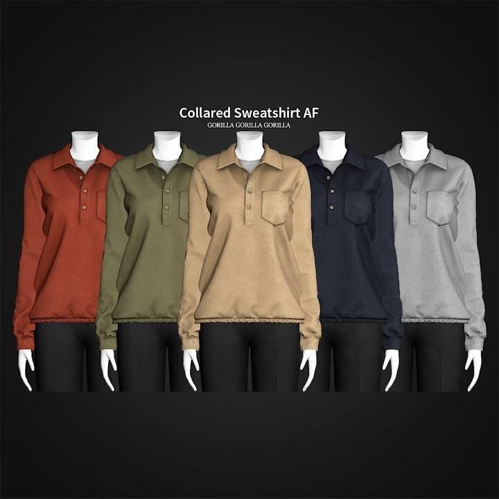 Женская кофта - Collared Sweatshirt AF