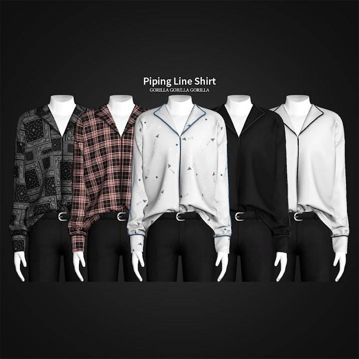 Мужская рубашка - Piping Line Shirt