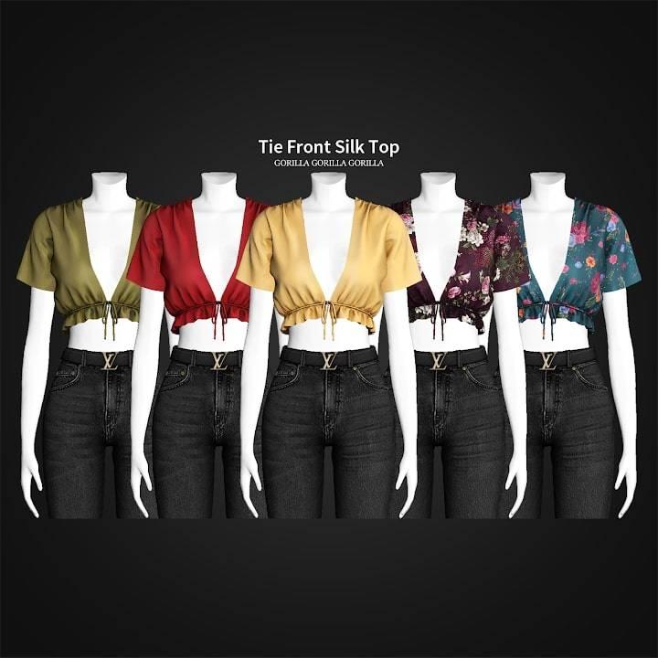 Топ - Tie Front Silk Top