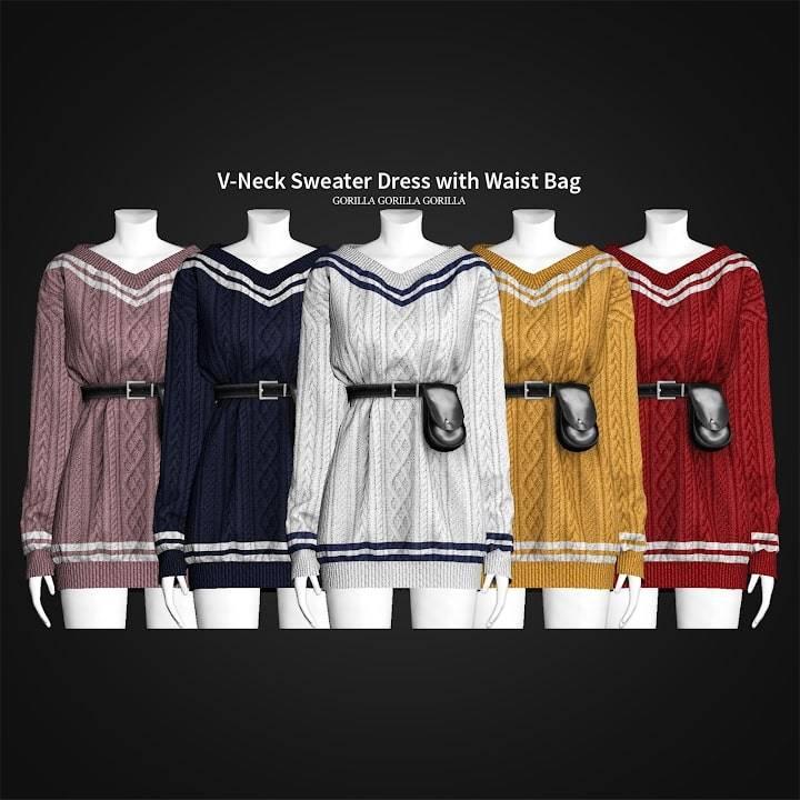 Платье - V-Neck Sweater Dress with Waist Bag