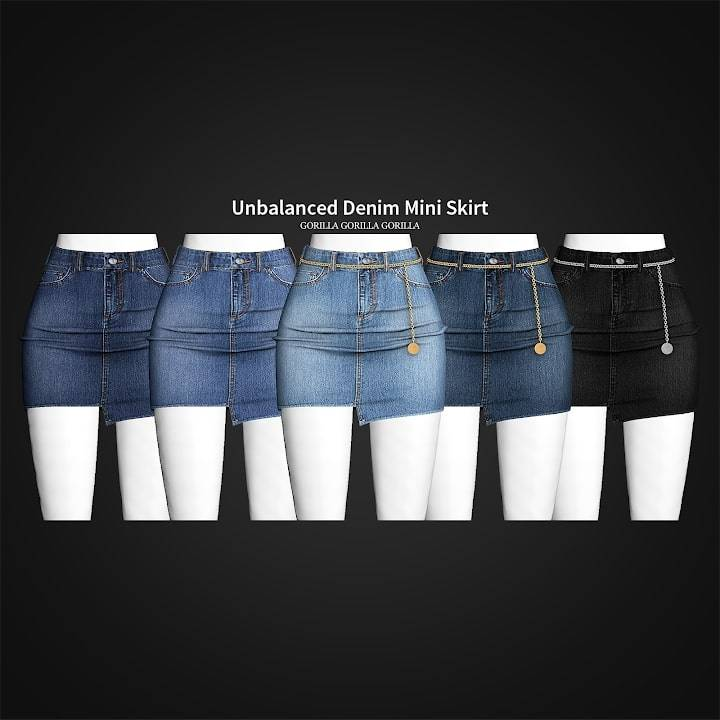 Юбка - Unbalanced Denim Mini Skirt