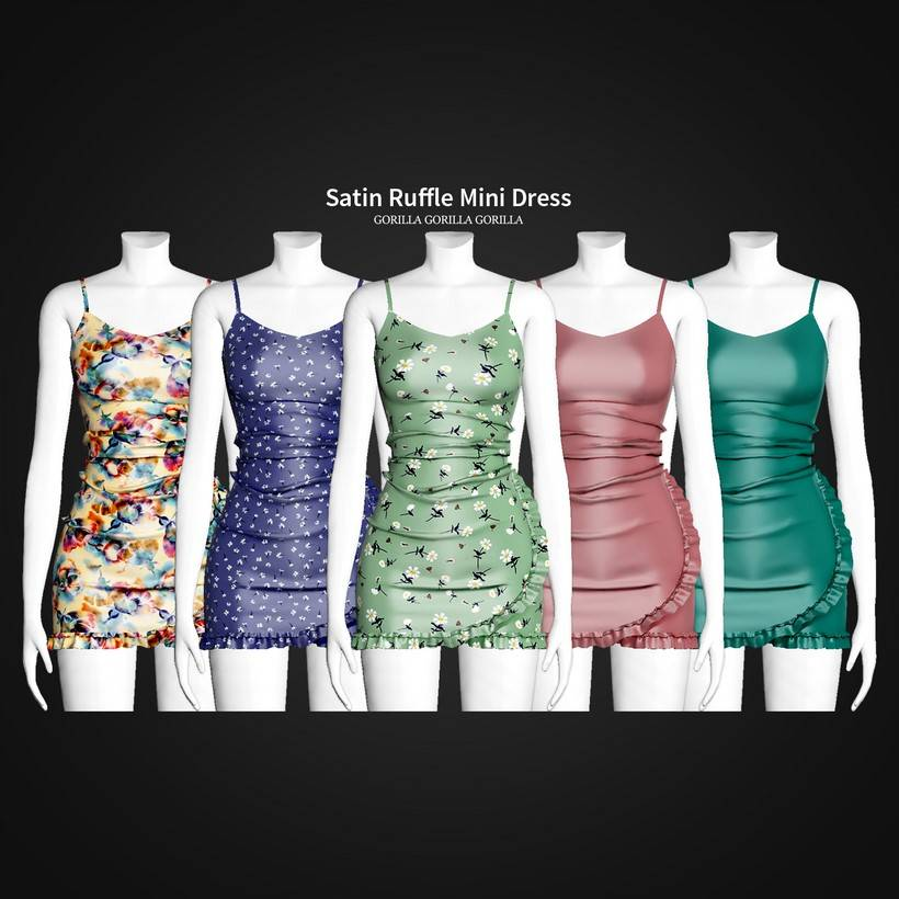 Платье - Satin Ruffle Mini Dress