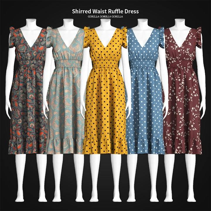 Платье - Shirred Waist Ruffle Dress