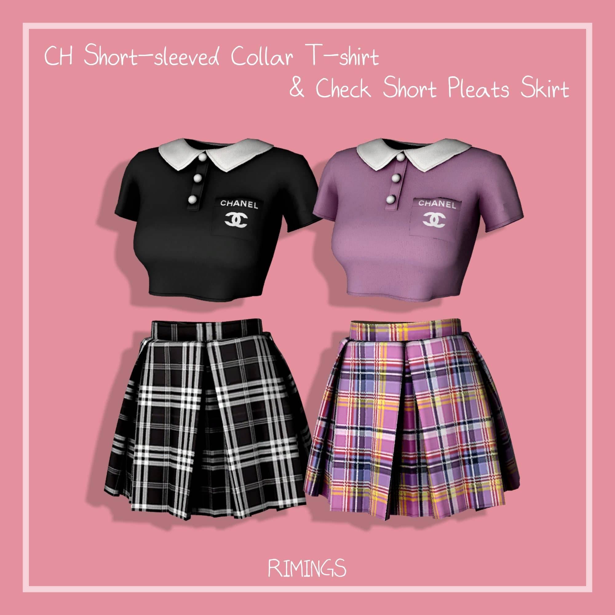Футболка и юбка - CH Short-sleeved Collar T-shirt & Check Short Pleats Skirt