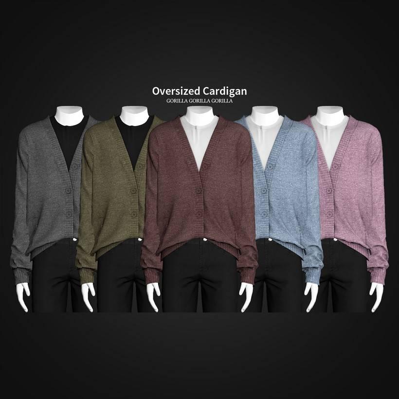 Мужской кардиган и футболка - Oversized Cardigan