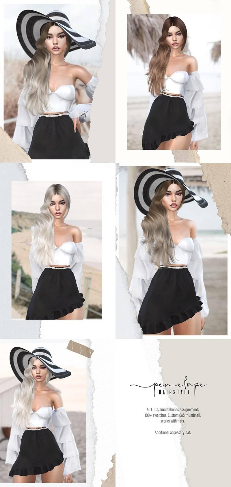 Женская прическа и шляпа - Penelope Hairstyle and hat accessory