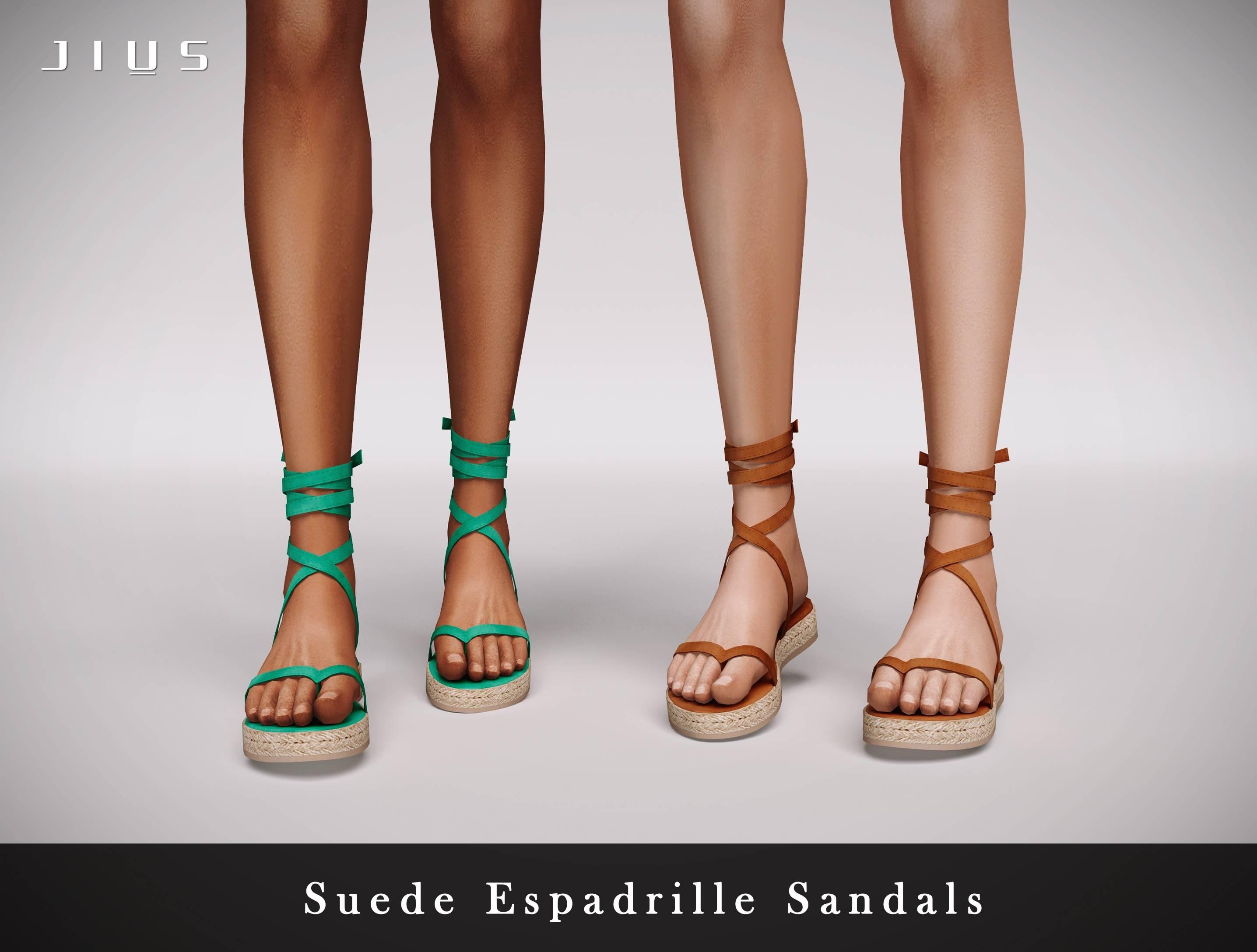 Сандалии - Suede Espadrille Sandals