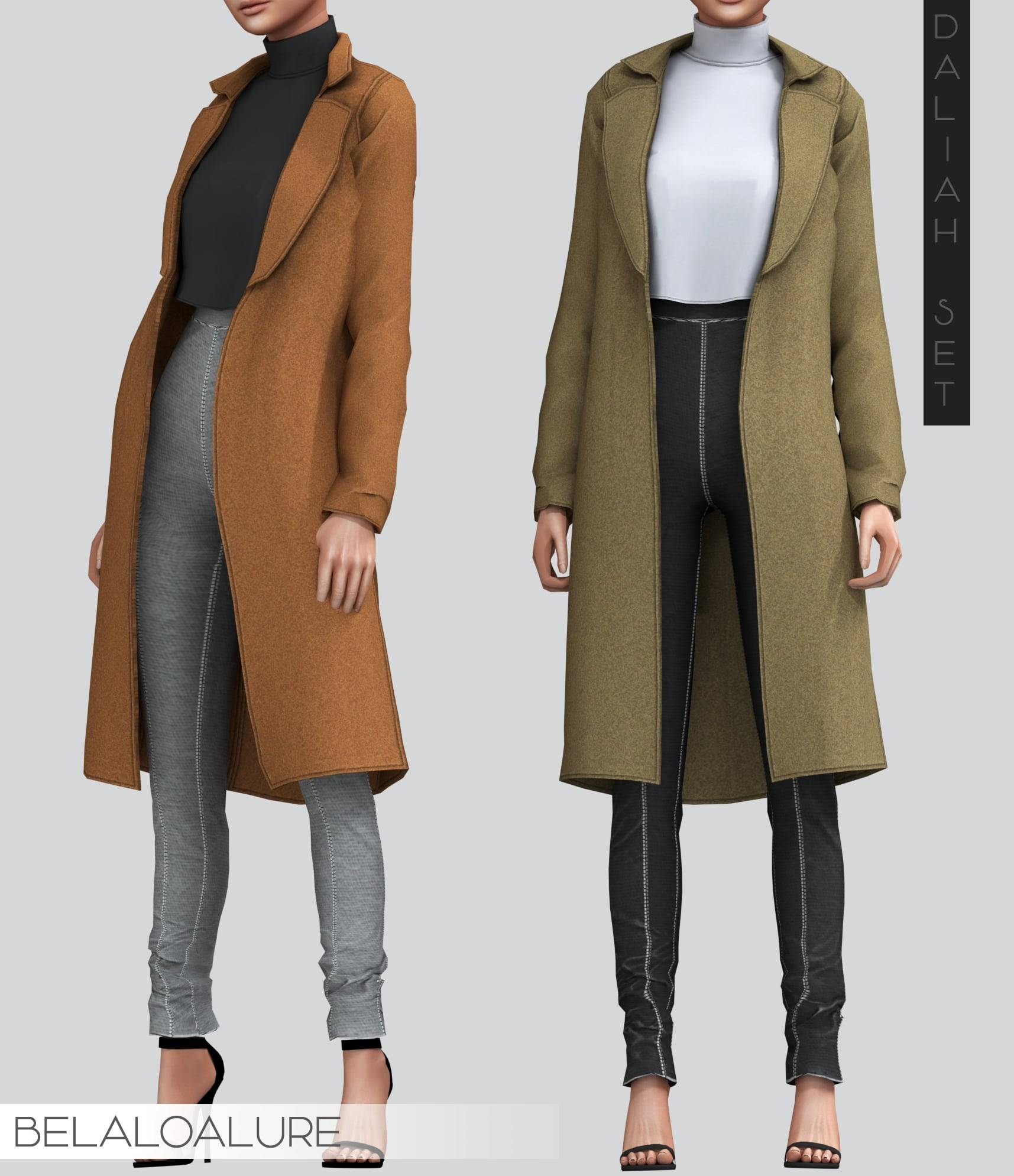 Комплект одежды - Cozy coat over simple turtle neck top and high waisted pants