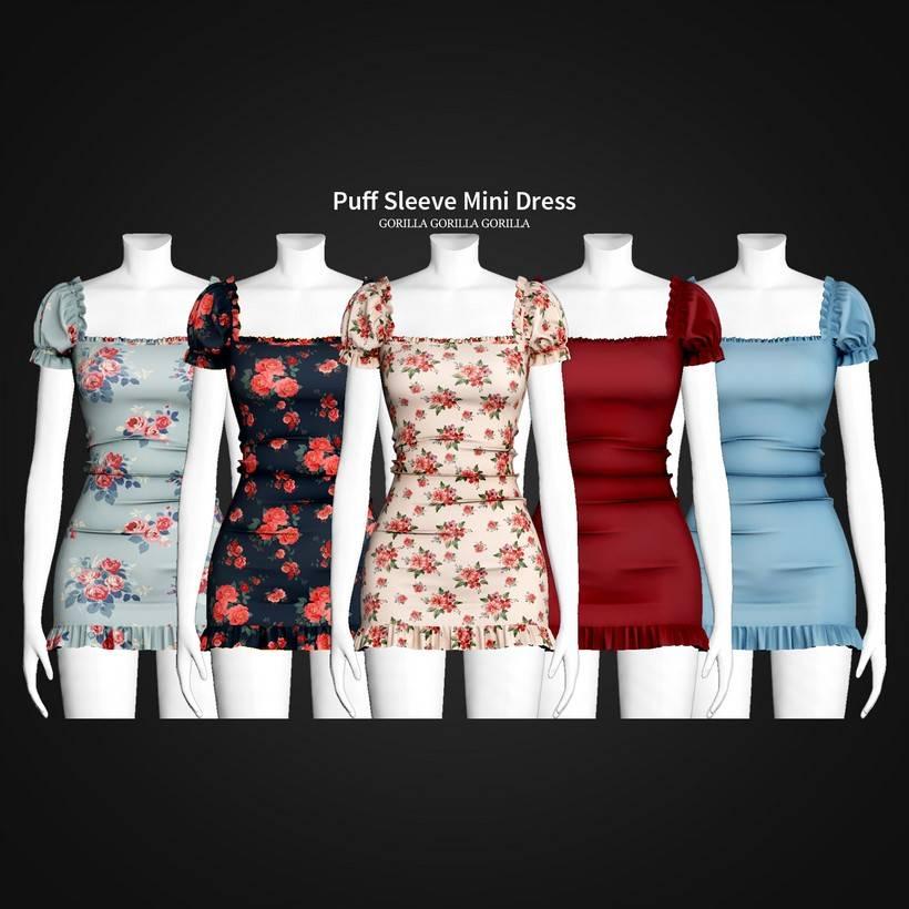 Платье - Puff Sleeve Mini Dress