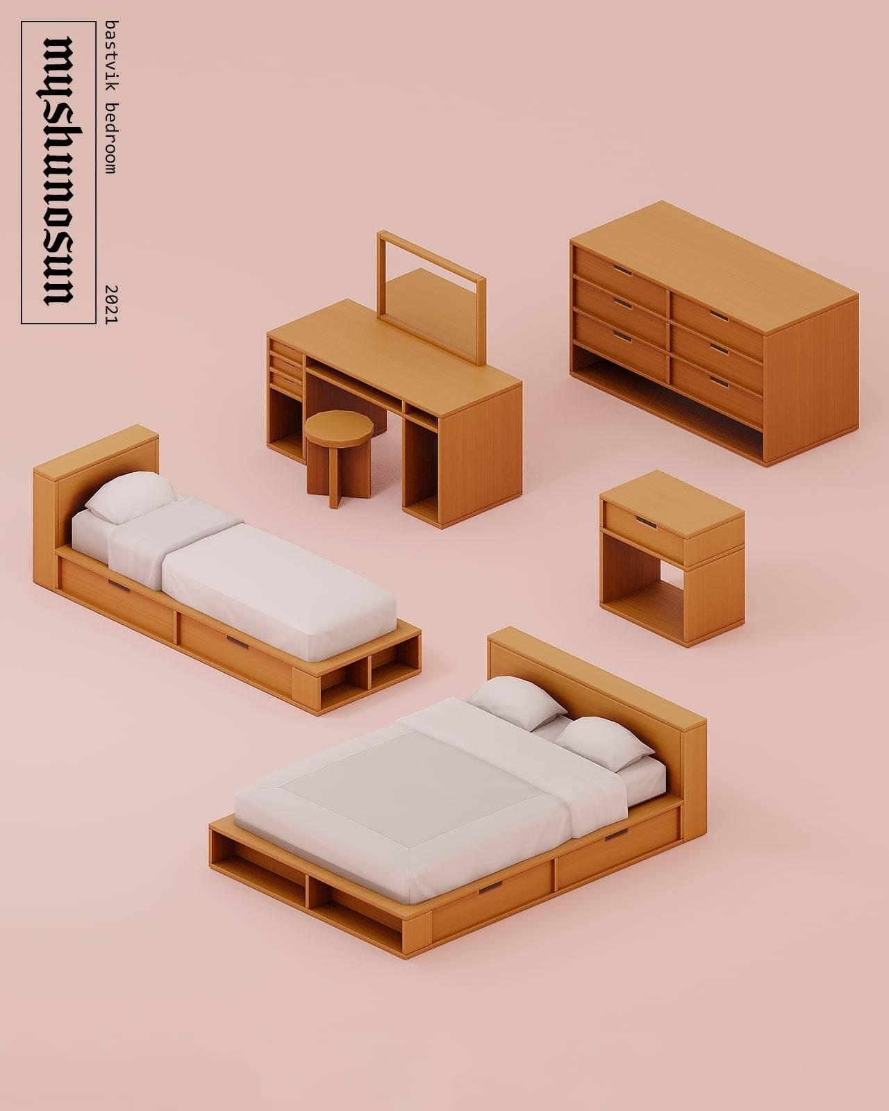 Набор мебели для спальни - Bastvik bedroom