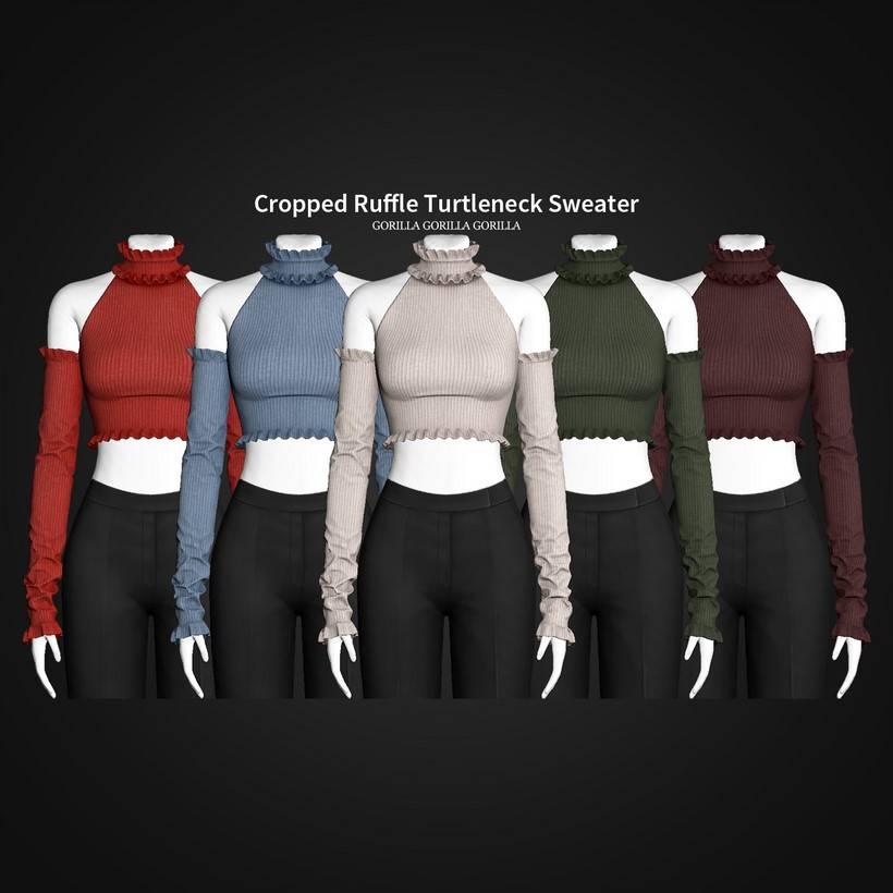 Женская водолазка - Cropped Ruffle Turtleneck Sweater
