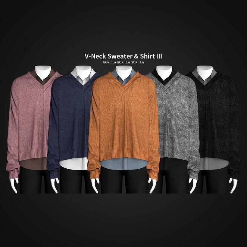 Рубашка и джемпер - V-Neck Sweater & Shirt III