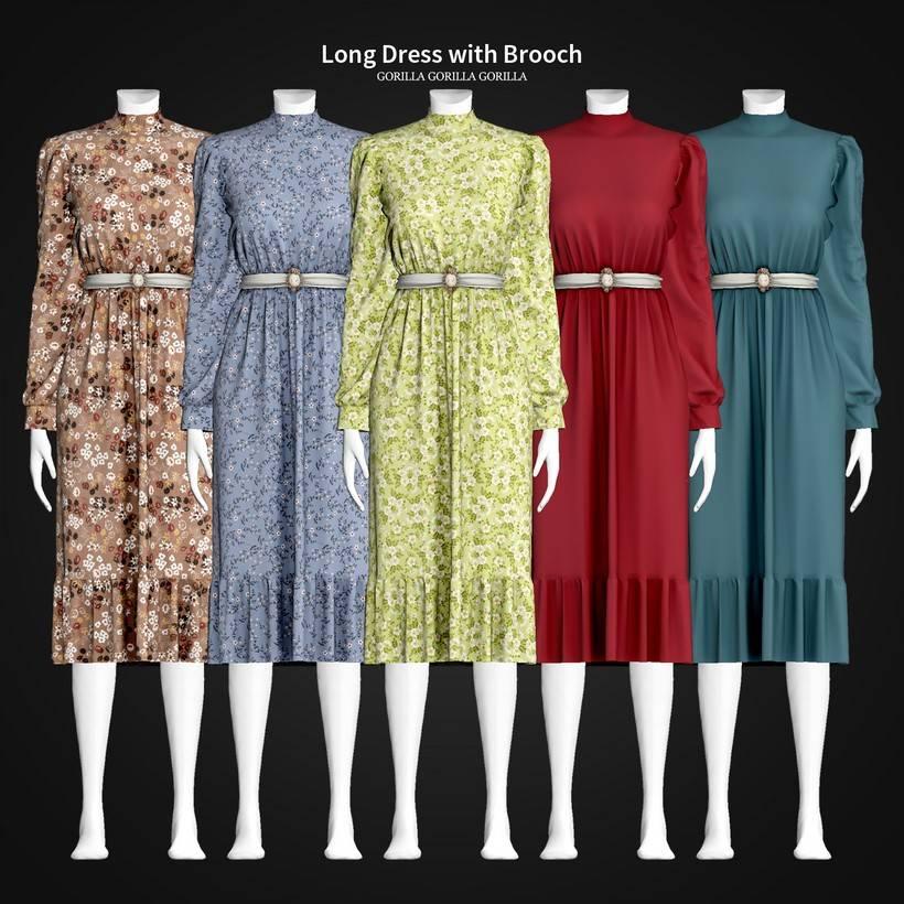 Платье - Long Dress with Brooch