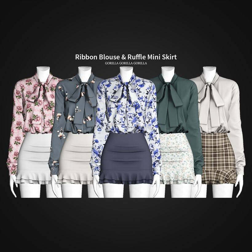 Блузка и юбка - Ribbon Blouse & Ruffle Mini Skirt